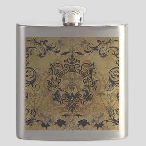 BeeFloralGoldQduvet Flask