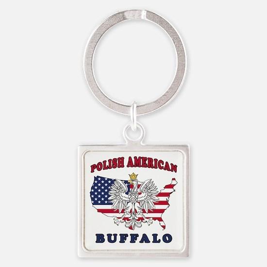 Buffalo New York Polish Square Keychain