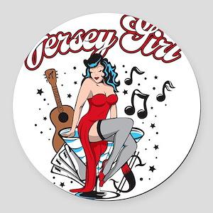 JerseyGirl_PinUp Round Car Magnet