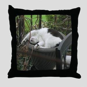 Cat sleeping in a flowerpot Throw Pillow