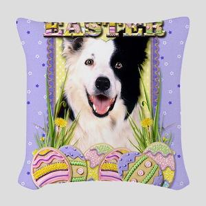 EasterEggCookiesBorderCollieCP Woven Throw Pillow