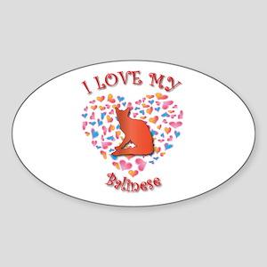 Love My Balinese Oval Sticker