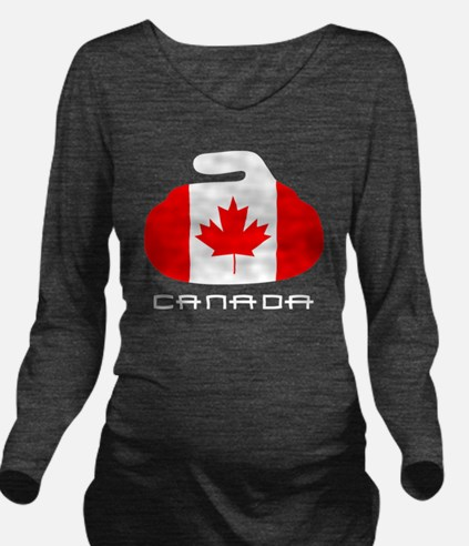 Canada Curling Long Sleeve Maternity T-Shirt