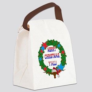 Longhorn Santa - Merry Christmas Yall! Canvas Lunc