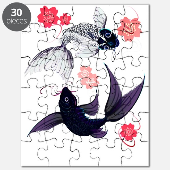 Yin Yang Koi and Cherry Blossoms Trans Puzzle