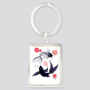Yin Yang Koi and Cherry Blossoms Portrait Keychain