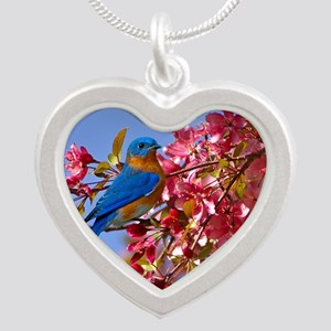 Bluebird in Blossoms Silver Heart Necklace