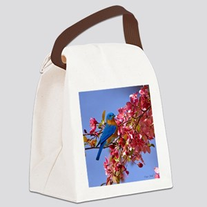 Bluebird in Blossoms Canvas Lunch Bag