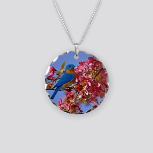 Bluebird in Blossoms Necklace Circle Charm