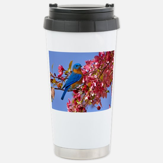 Bluebird in Blossoms Stainless Steel Travel Mug