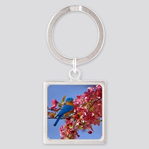 Bluebird in Blossoms Square Keychain