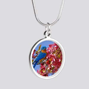Bluebird in Blossoms Silver Round Necklace