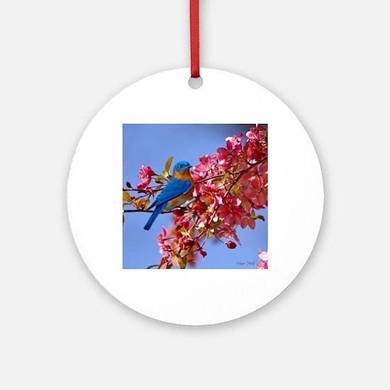 Bluebird in Blossoms Round Ornament