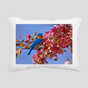 Bluebird in Blossoms Rectangular Canvas Pillow