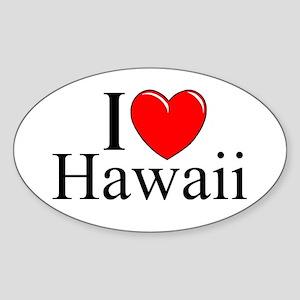 """I Love Hawaii"" Oval Sticker"