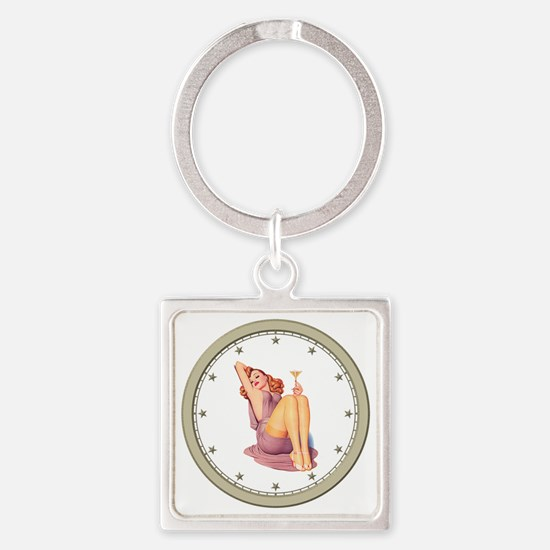 CLOCK A Pin-Up Silver Star Square Keychain