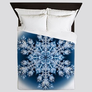 Snowflake 067 - transparent Queen Duvet