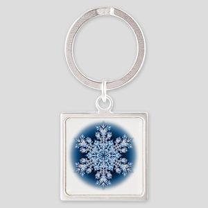 Snowflake 067 - transparent Square Keychain