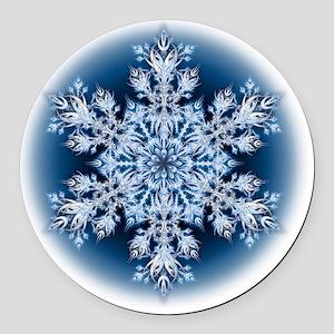 Snowflake 067 - transparent Round Car Magnet