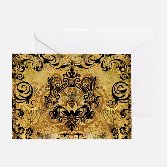 BeeFloralGoldPiloHz Greeting Card