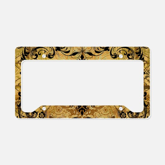 BeeFloralGoldPiloHz License Plate Holder