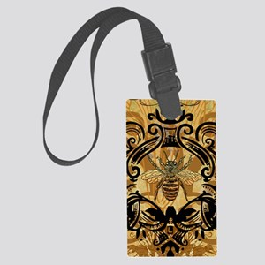 BeeFloralGoldKindleC Large Luggage Tag