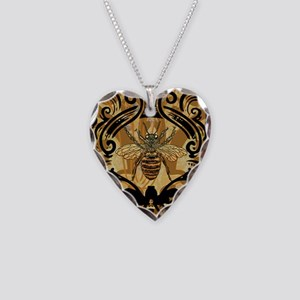 BeeFloralGoldKindleC Necklace Heart Charm