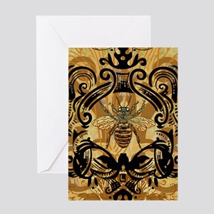 BeeFloralGoldKindleC Greeting Card