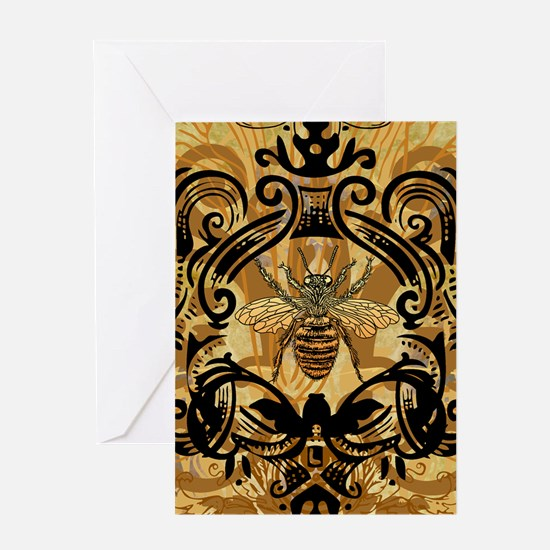 BeeFloralGoldKindleC Greeting Card