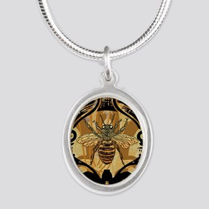 BeeFloralGoldKindleC Silver Oval Necklace