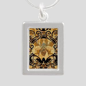 BeeFloralGoldKindleC Silver Portrait Necklace