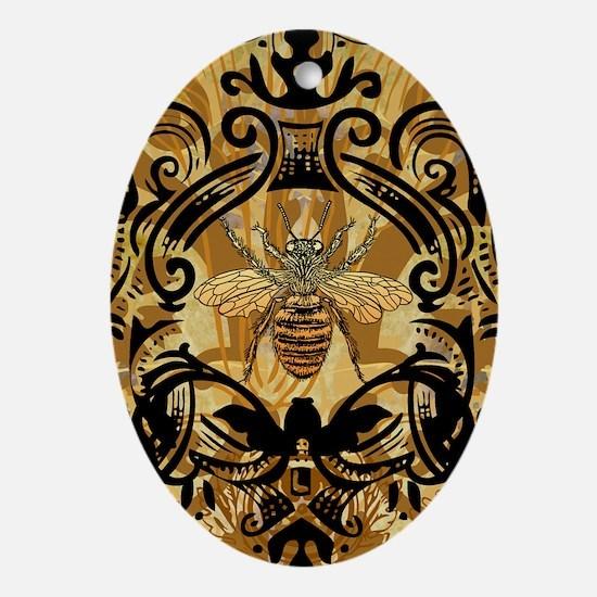 BeeFloralGoldKindleC Oval Ornament