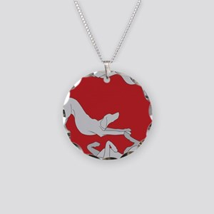 3WeimsRedTrans Necklace Circle Charm
