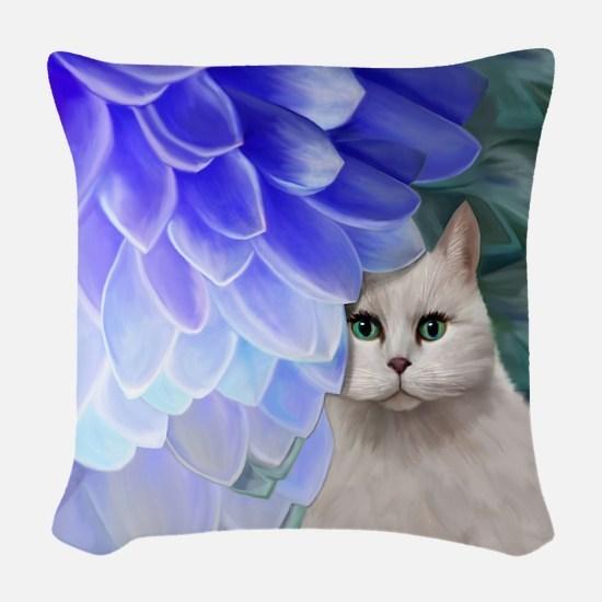 Cat with Blue Zinnia Woven Throw Pillow