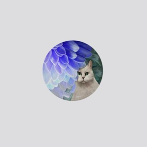 Cat with Blue Zinnia Mini Button