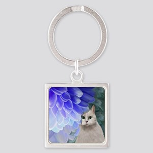 Cat with Blue Zinnia Square Keychain