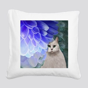 Cat with Blue Zinnia Square Canvas Pillow