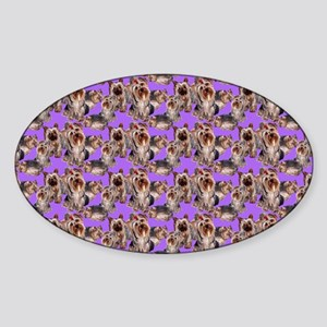 yorkshire terrier lavender pillowca Sticker (Oval)