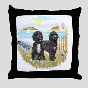RowBoat-TwoblackPWD Throw Pillow