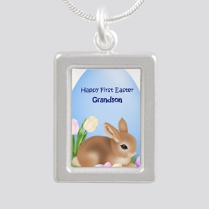 First Easter Grandson Silver Portrait Necklace