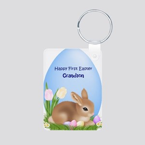 First Easter Grandson Aluminum Photo Keychain