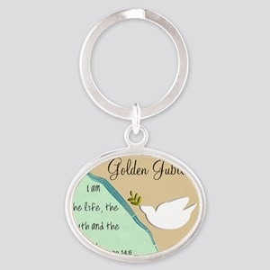 Golden Jubilee Sand Teal Oval Keychain