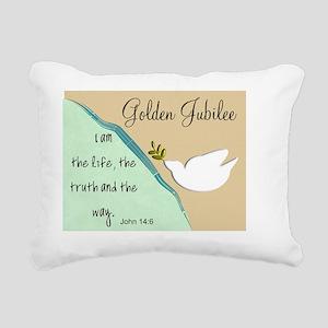 Golden Jubilee Sand Teal Rectangular Canvas Pillow