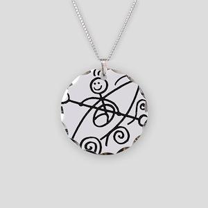 happy kayak black Necklace Circle Charm
