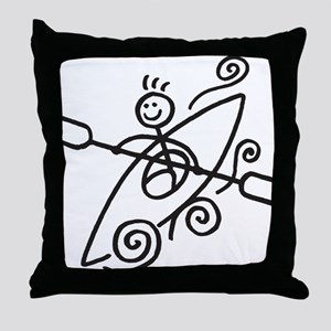 happy kayak black Throw Pillow