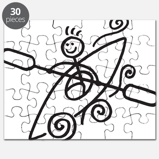 happy kayak black Puzzle