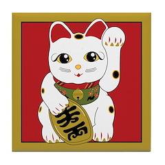 Maneki Neko Cat Tile Coaster