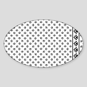 PawPrintPillowCaseBWfinal Sticker (Oval)
