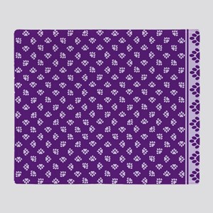 PawprintPCDeepPurpWLtPurple Throw Blanket