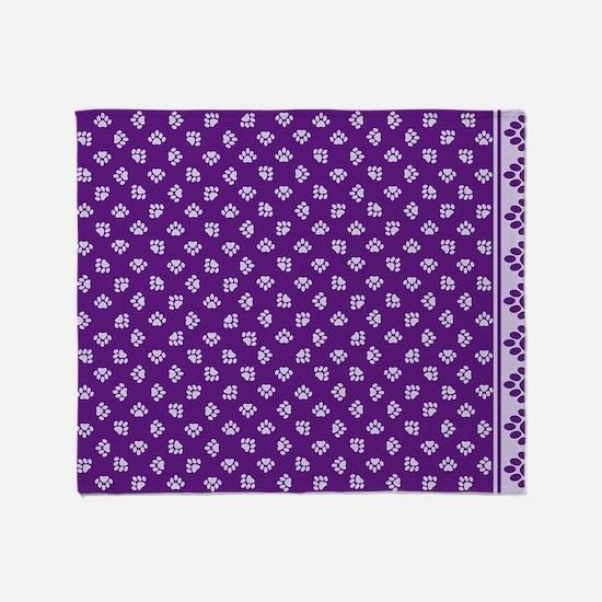 PawprintPCDeepPurpWLtPurple Throw Blanket